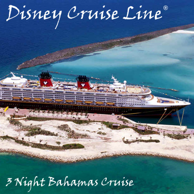 DISNEY CRUISE LINE<sup>&reg;</sup> 3-Night Bahamas Cruise - A magnificent cruise for 2 adults and 2 children filled with magic, romance and impeccable Disney service. Cruise sails from Port Canaveral, FL with stops in Nassau and Castaway Cay, Disney's secluded island retreat. Airfare not included.