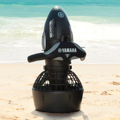 YAMAHA<sup>&reg;</sup> Seascooter - This lightweight and powerful seascooter will allow you to maximize your underwater dive experience.  It's designed to run up to 1.5 hours with normal use and weighs just 18 lbs.  Features include powered by a sealed lead acid battery, impact resistant heavy duty rubber hull protection, and waterproof construction.